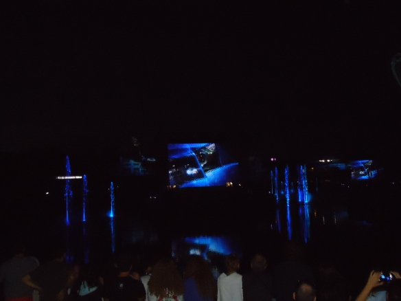 The final show is water lasers, fireworks and projection. Images are projects of water dropping from the sky.