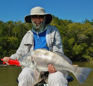 Linda's big fish.  A Black Drum.