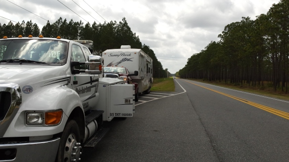 It takes a big tow truck to pull the Dodge diesel and the Fifth wheel all at once!