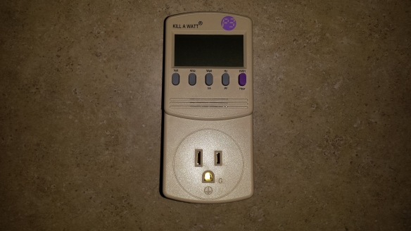 We also received a Kill A Watt meter to measure electrical usage,