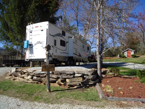 Yes the back of the trailer is about five feet off the ground - welcome to the mountains,
