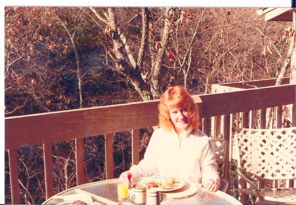 Miss Peggy and I on a no kids getaway in Tennesse.  There was snow on the table when we got up.