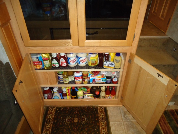 ...addtional storage space for can goods. The finished fiddles aren't installed waiting a dry day to stain them.